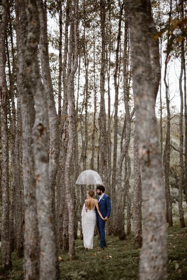 Bride and Groom In Forest Of Venue For Ukrainian Wedding