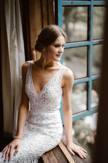 Bride In Lace Detail Wedding Dress