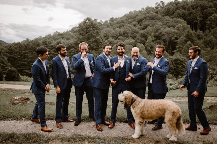 Dog Joins Groom and Groomsmen
