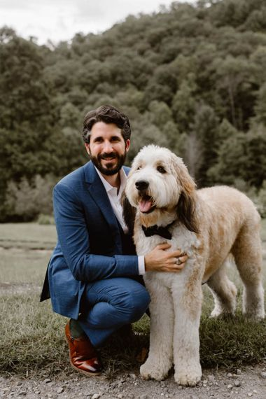Cute Dog With Groom In Navy Suit