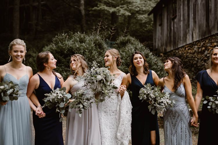 Bridal Party In Blue Bridesmaid Dresses