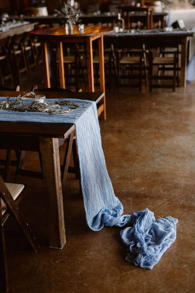 Blue Table Runner Wedding Decoration