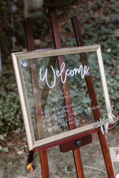 Wedding Welcome Sign On Mirror