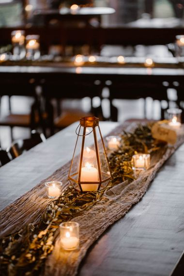 Wedding Table Decoration With Foliage And Candles