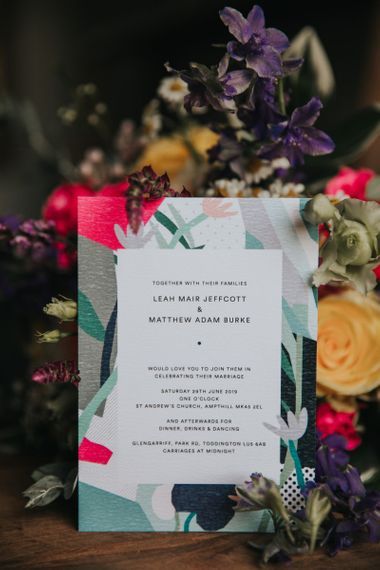 Bright wedding invitation design