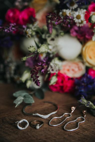 Bright wedding flowers and wedding jewellery