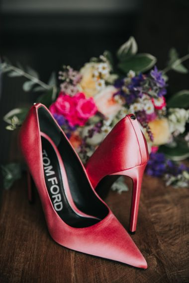 Colourful pink wedding shoes