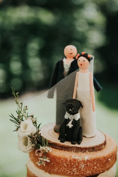 Wedding cake topper with pet dog