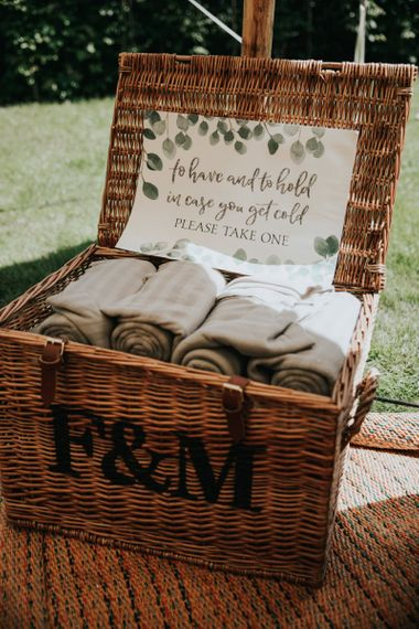 Wedding blanket basket