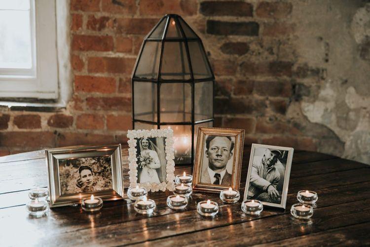 Photograph memory table at wedding
