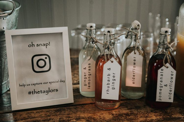 Wedding drinks with instagram sign at wedding