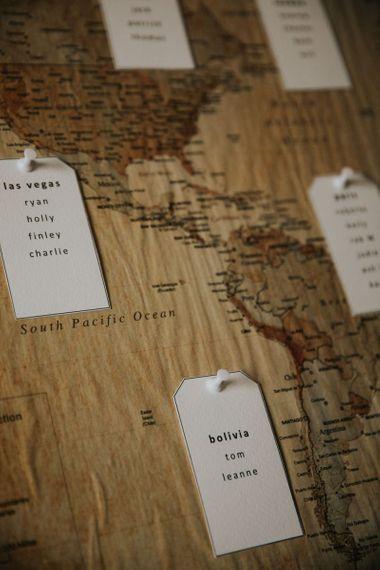 Map theme wedding seating plan