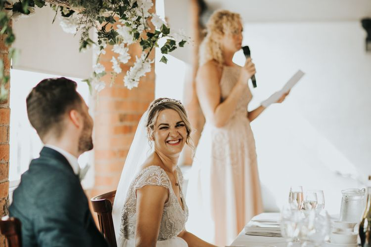 Blush bridesmaid dresses for industrial wedding