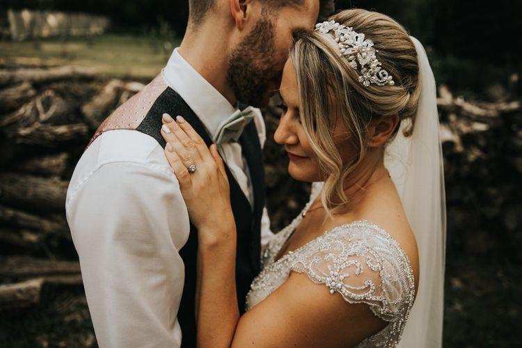 Embellished hair piece for bride in Stella York wedding dress