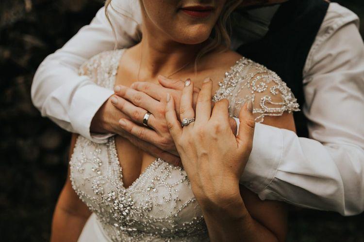 Beaded Stella York wedding dress with cap sleeves