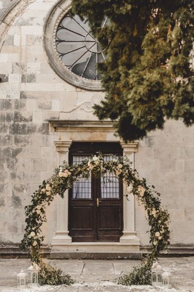 Floral moon gate for elopement
