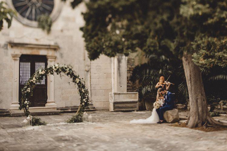 Historic church courtyard in Croatia for elopement