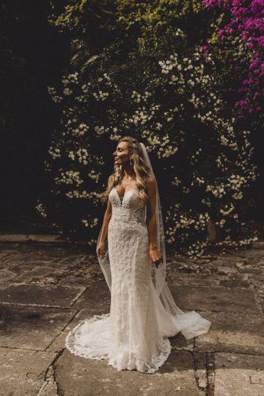 Bride in Essense of Australia wedding dress