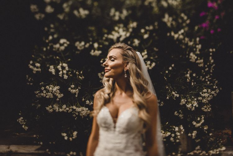 Bride in Essense of Australia wedding dress with Hollywood glamour waves
