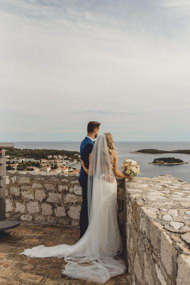 Bride and groom at Hvar wedding