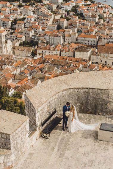 Bride and groom in Hvar for destination wedding