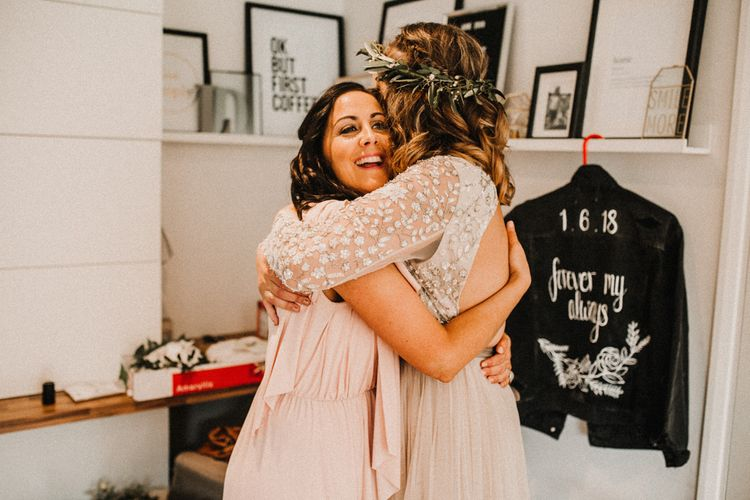 Wedding Morning Bridal Preparations | Bride in Sequin & Tulle Needle & Thread Gown | Rustic, Boho, Outdoor Summer Garden Wedding at Herons Farm, Berkshire | Carla Blain Photography