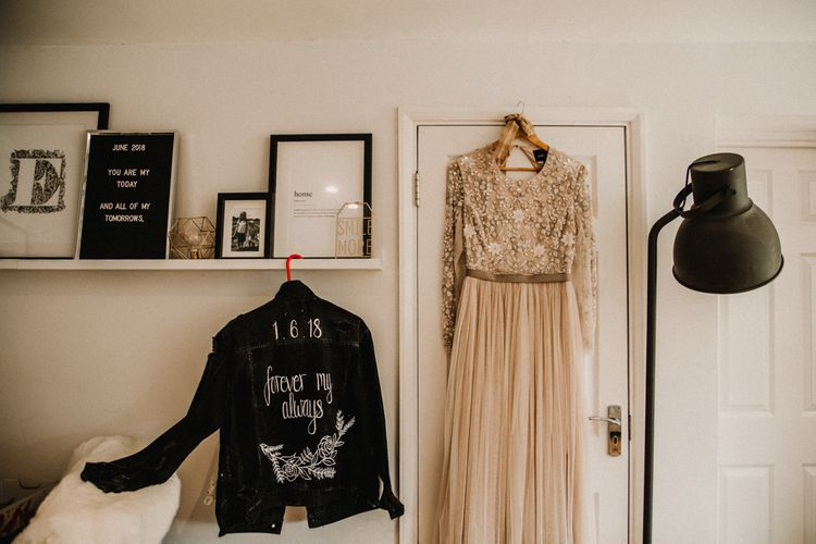 Sequin & Tulle Needle & Thread Gown & Customised Leather Jacket | Rustic, Boho, Outdoor Summer Garden Wedding at Herons Farm, Berkshire | Carla Blain Photography