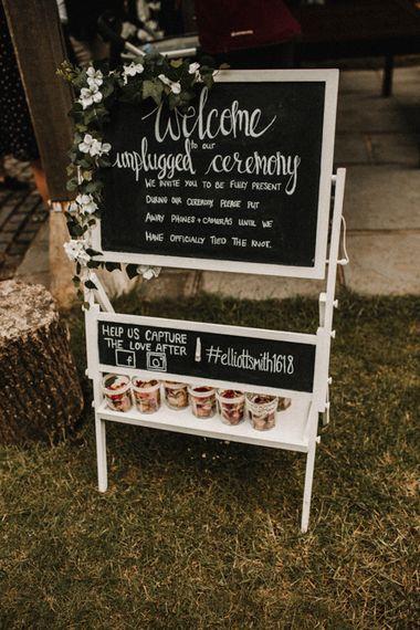 Unplugged Wedding Ceremony Sign | Rustic, Boho, Outdoor Summer Garden Wedding at Herons Farm, Berkshire | Carla Blain Photography