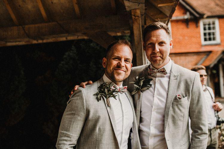 Groomsmen | Grey Blazer, Chinos, Braces & Bow Ties | Rustic, Boho, Outdoor Summer Garden Wedding at Herons Farm, Berkshire | Carla Blain Photography