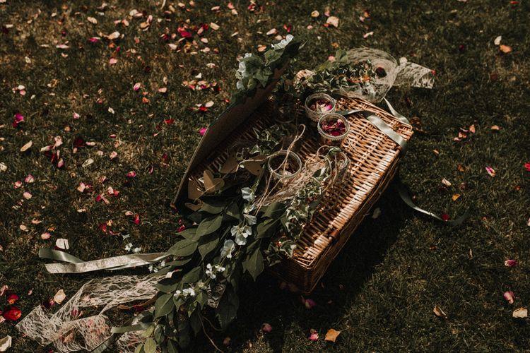 Wicker Basket, Greenery & Confetti | Rustic, Boho, Outdoor Summer Garden Wedding at Herons Farm, Berkshire | Carla Blain Photography
