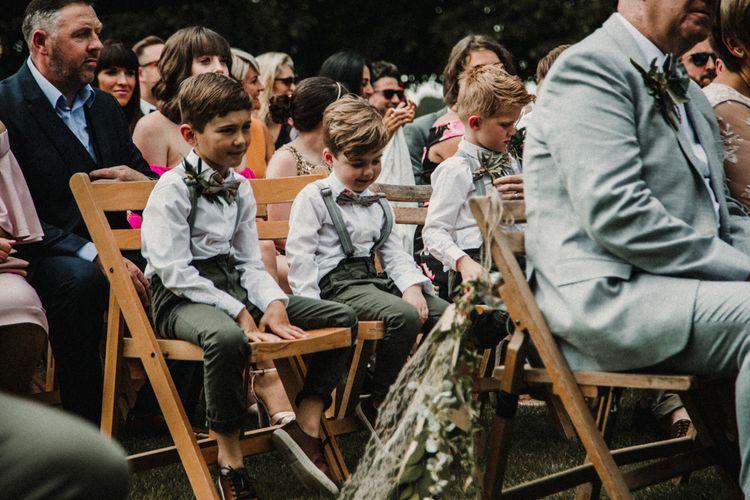 Page Boys in Chinos, Braces & Bow Ties | Rustic, Boho, Outdoor Summer Garden Wedding at Herons Farm, Berkshire | Carla Blain Photography