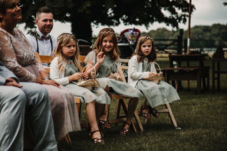 Flower Girls in Mint Green Chiffon Dresses | Rustic, Boho, Outdoor Summer Garden Wedding at Herons Farm, Berkshire | Carla Blain Photography