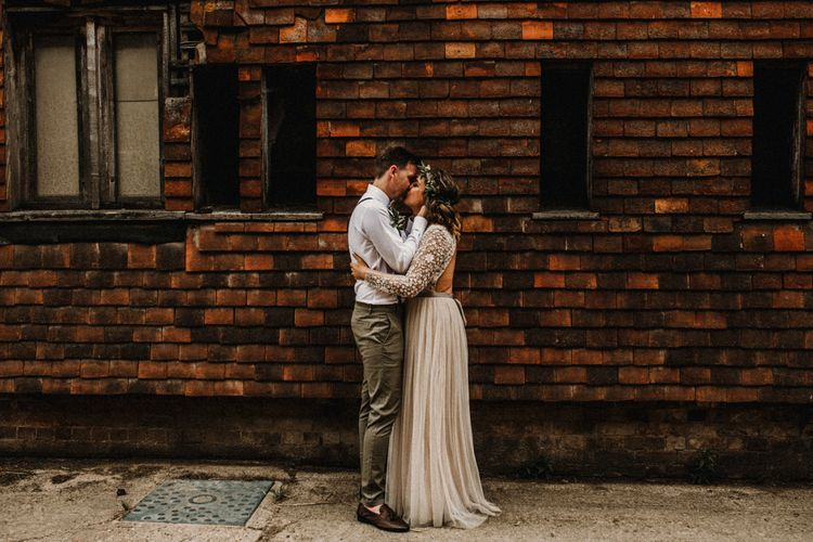 Boho Bride in Sequin & Tulle Needle & Thread Gown | Groom in Chinos, Braces & Bow Tie | Rustic, Boho, Outdoor Summer Garden Wedding at Herons Farm, Berkshire | Carla Blain Photography