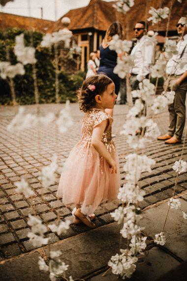 Flower Girl in Blush Pink Sequin & Tulle Dress | Rustic, Boho, Outdoor Summer Garden Wedding at Herons Farm, Berkshire | Carla Blain Photography