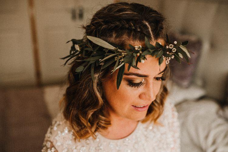 Greenery Flower Crown | Rustic, Boho, Outdoor Summer Garden Wedding at Herons Farm, Berkshire | Carla Blain Photography