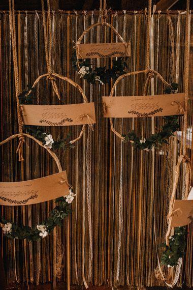 DIY Hanging Hoop Table Plan with Craft Paper | Rustic, Boho, Outdoor Summer Garden Wedding at Herons Farm, Berkshire | Carla Blain Photography