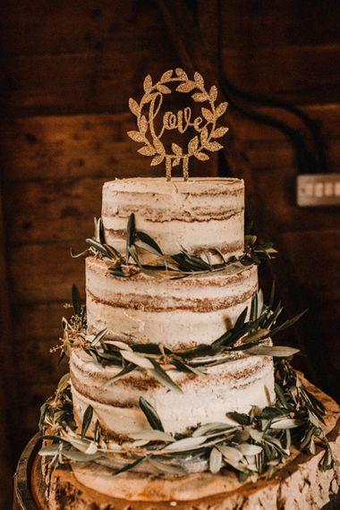 Semi Naked Wedding Cake on Tree Slice | Rustic, Boho, Outdoor Summer Garden Wedding at Herons Farm, Berkshire | Carla Blain Photography