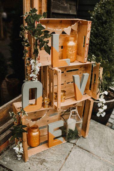 Rustic Crate Wedding Decor with DIY Letters | Rustic, Boho, Outdoor Summer Garden Wedding at Herons Farm, Berkshire | Carla Blain Photography