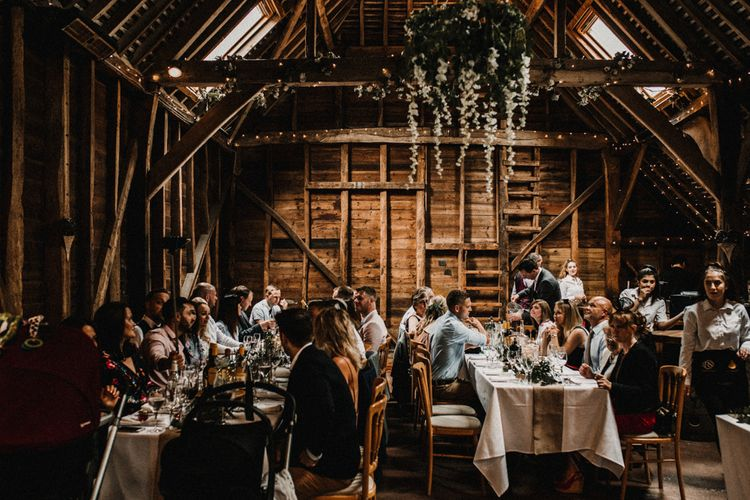 Rustic Barn Evening Reception Decor | Rustic, Boho, Outdoor Summer Garden Wedding at Herons Farm, Berkshire | Carla Blain Photography