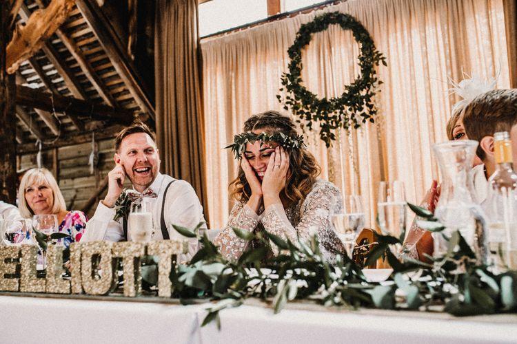 Wedding Reception Speeches | Boho Bride in Sequin & Tulle Needle & Thread Gown | Groom in Chinos, Braces & Bow Tie | Rustic, Boho, Outdoor Summer Garden Wedding at Herons Farm, Berkshire | Carla Blain Photography
