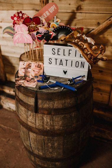 Barrel Selfie Station Props | Wedding Decor | Rustic, Boho, Outdoor Summer Garden Wedding at Herons Farm, Berkshire | Carla Blain Photography