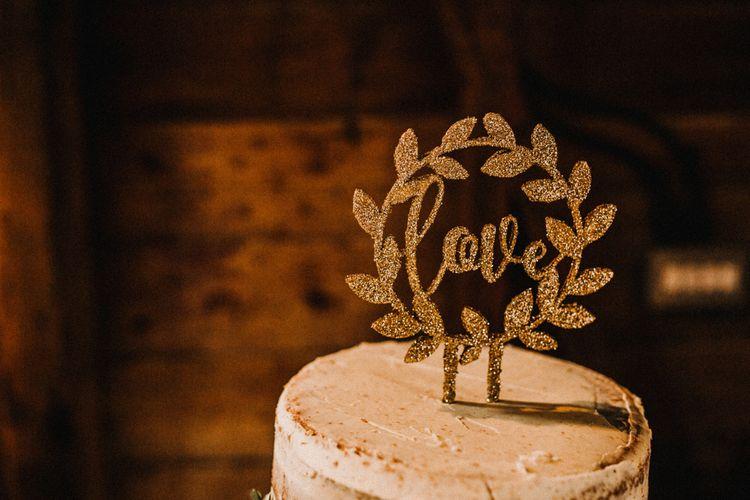 Laser cut Glitter Wedding Cake Topper | Rustic, Boho, Outdoor Summer Garden Wedding at Herons Farm, Berkshire | Carla Blain Photography