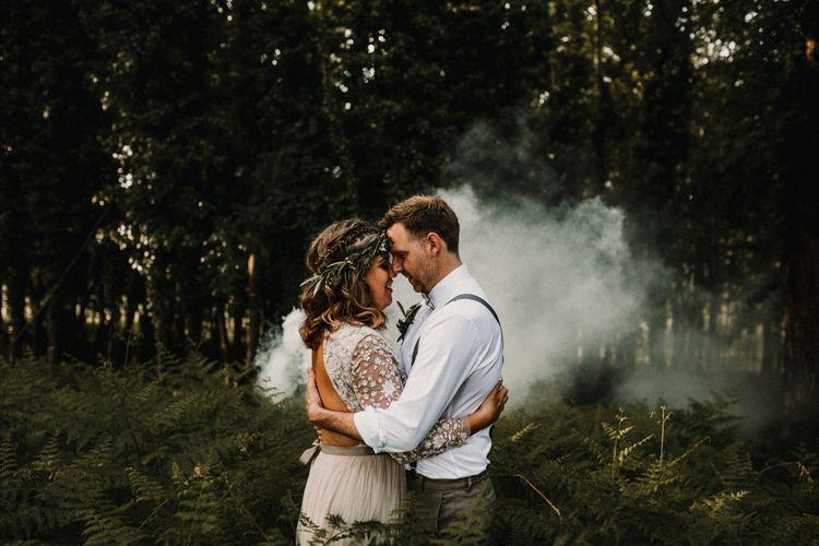 Smoke Bomb Portrait | Boho Bride in Sequin & Tulle Needle & Thread Gown | Groom in Chinos, Braces & Bow Tie | Rustic, Boho, Outdoor Summer Garden Wedding at Herons Farm, Berkshire | Carla Blain Photography