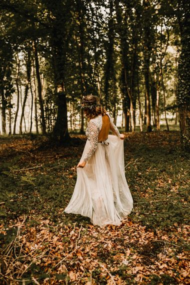 Boho Bride in Sequin & Tulle Needle & Thread Gown | Rustic, Boho, Outdoor Summer Garden Wedding at Herons Farm, Berkshire | Carla Blain Photography