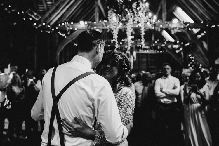 Wedding First Dance | Boho Bride in Sequin & Tulle Needle & Thread Gown | Groom in Chinos, Braces & Bow Tie | Rustic, Boho, Outdoor Summer Garden Wedding at Herons Farm, Berkshire | Carla Blain Photography