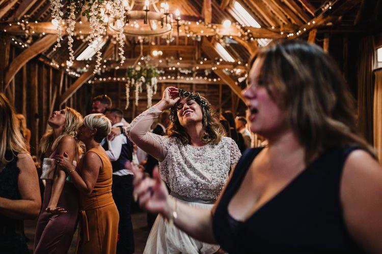 Boho Bride in Sequin & Tulle Needle & Thread Gown | Evening Reception |  Rustic, Boho, Outdoor Summer Garden Wedding at Herons Farm, Berkshire | Carla Blain Photography