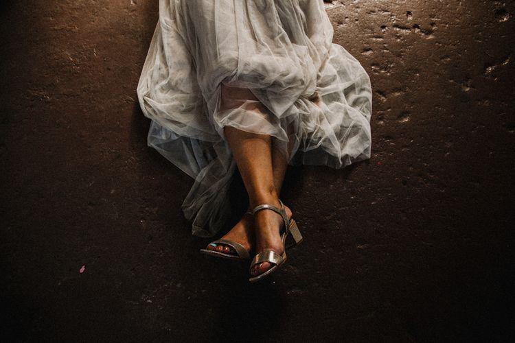 Silver Block Heel Bridal Shoes | Bride in Sequin & Tulle Needle & Thread Gown | Rustic, Boho, Outdoor Summer Garden Wedding at Herons Farm, Berkshire | Carla Blain Photography