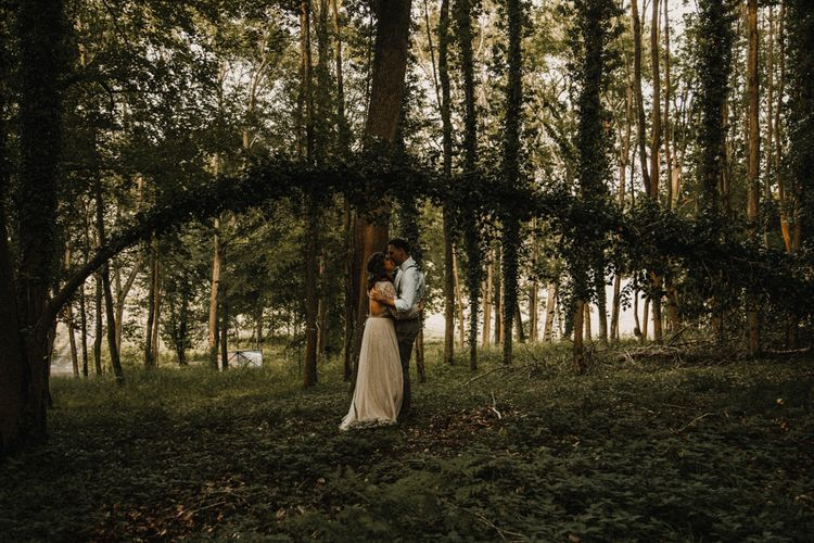 Woodland Portrait | Boho Bride in Sequin & Tulle Needle & Thread Gown | Groom in Chinos, Braces & Bow Tie | Rustic, Boho, Outdoor Summer Garden Wedding at Herons Farm, Berkshire | Carla Blain Photography