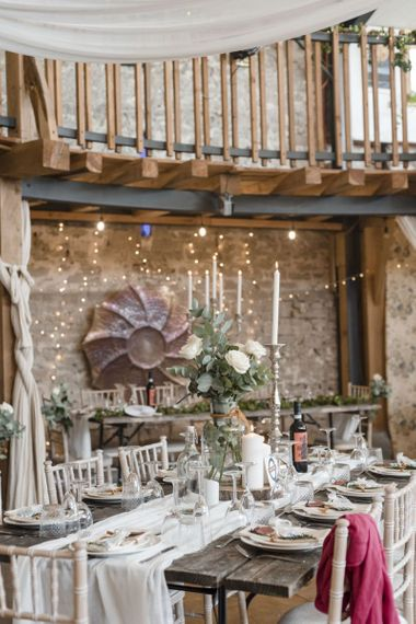 Coed Hills rustic barn wedding venue decorated with candles