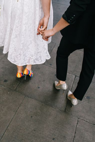 Silver glitter and rainbow wedding shoes